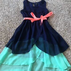 Navy, teal and pink loose dress